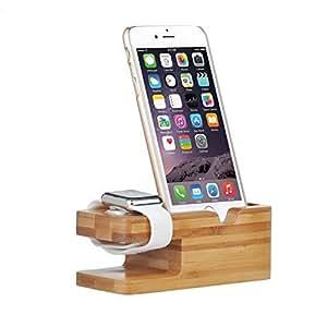 ELTD Apple Watch Stand, 2 in 1 Bambus Holz Ladestation Lade Stehen Station Dock Plattform für Apple Watch & iPhone 6s 4.7, iPhone 6S Plus 5.5, iphone 6 4.7, iphone 6 plus 5.5 , iphone 5S 5C 5 4S 4, (Bambus)