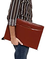 LIONZY Leatherette Material Professional File Folders for Certificates, Document Bag with Adjustable Handles (Brown)