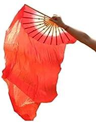 kingken hecho a mano danza del vientre (seda y bambú ventilador para rendimiento (rojo)
