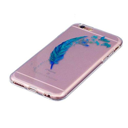 Cover iPhone 6 PLUS Silicone ultra trasparente sottile TPU morbido Custodia Modello di arte cover-panda piuma Blu