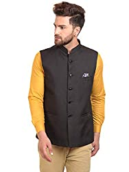 River Hill Mens Black Festive Nehru Jacket/Waistcoat