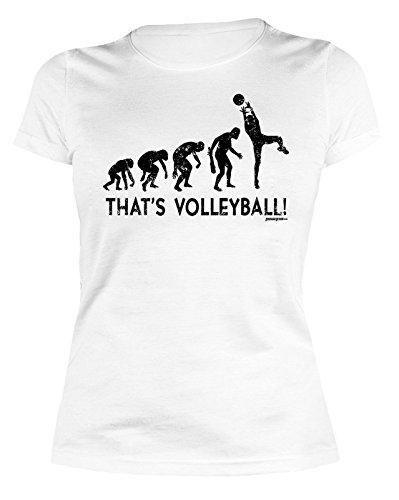 modisches T-Shirt für Frauen Mädchen Shirt für Girl Sport Motiv Volleyball Farbe: weiss Weiß