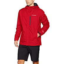 Columbia Hombre Chaqueta impermeable, Pouring Adventure II Jacket, Nailon, Rojo (Mountain Red