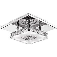 Fuloon 12W Moderno Cristallo Lampada a Soffitto Plafoniera LED Lampadario Decorazione Acciaio Inox (Bianco -