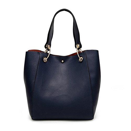 Valleycomfy Damen Tasche Einkaufstasche Pu Leder Handtasche Schultertasche Marineblau