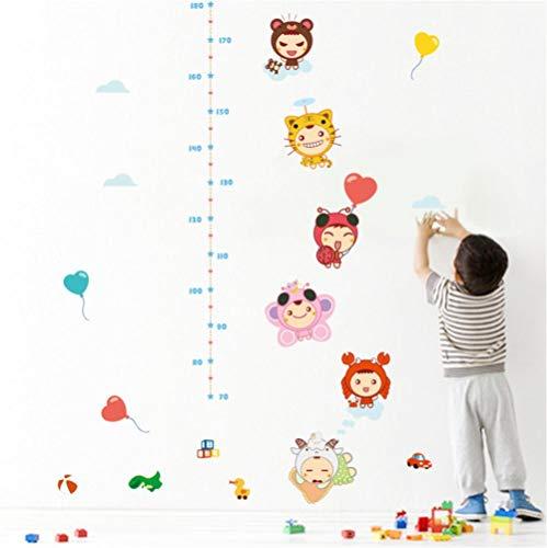 Guooe Kinderzimmer Deko Junge Mädchen Messlatte Kind, 3D Cartoon Tiere Ente Ballon Auto Höhe Maßnahme Wandaufkleber Kinderzimmer Schlafzimmer Wachstum Diagramm Kinderzimmer Dekor Wandkunst -
