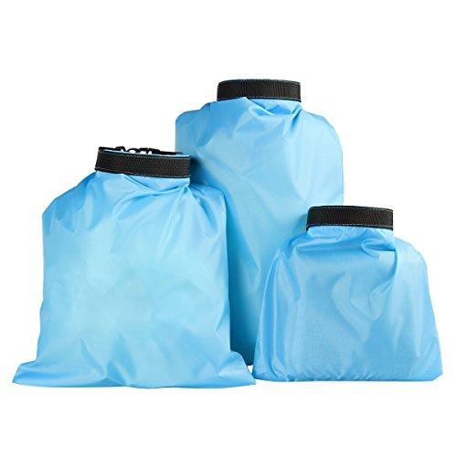 VORCOOL 3 Stück Wasserdichte Taschen Beutel Aufbewahrungstasche für Kajak Rafting Angeln Himmel Blau 1.5L 2.5L 3.5L (Kajak Trinken Zubehör)