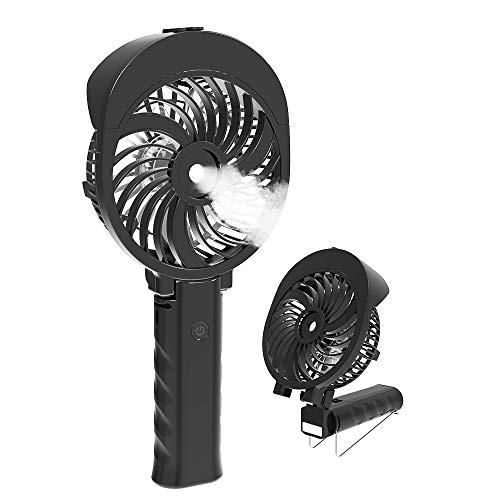 HandFan Handventilator Tragbarer Vernebelungs-Miniventilator/Batteriebetriebener elektrischer Ventilator USB-Ventilator Persönlicher Sprühventilator mit Luftbefeuchter/Mister / 3 Geschwindigkeiten