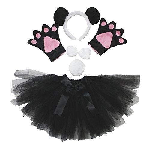 Petitebelle Stirnband Bowtie Schwanz Handschuhe Rock Unisex Adult 5pc Kostüm Einheitsgröße Panda