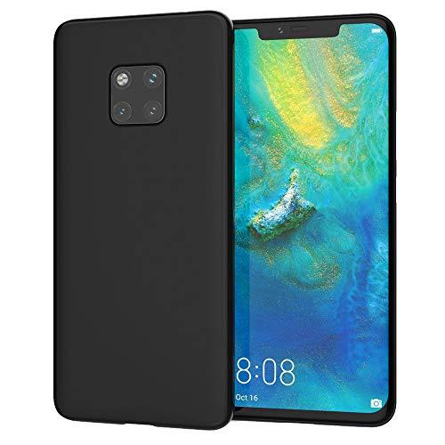 QINPIN Für Huawei Mate 20 Pro Case schlanke Silikon-Ultra-weiche Gel-Telefonabdeckung Schwarz