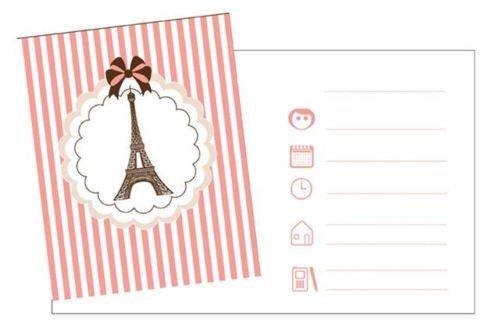 Parisienne-Eiffelturm-Design, Party-Einladungen 8 Stück