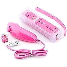 2 en 1 Mando Plus con Motion Plus y Nunchunk YiYunTE para Nintendo Wii Funda de Silicona (rosa)