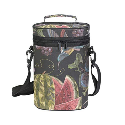 Ahomy Wine Tote Kolibri Trauben Wassermelone für 2 Flaschen, isoliert, Kühler - Personalisierte Wein-kühler