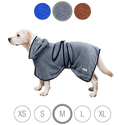 Bella & Balu Hundebademantel aus Mikrofaser – Saugfähiger Hunde Bademantel zum Trocknen nach dem Baden, Schwimmen oder Spaziergang im Regen (M | Grau)