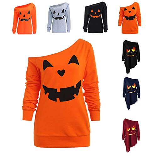 LOPILY Halloween Shirts Kürbis Kostüm Damen Schulterfrei 3D Sweatshirts für Halloween EIN Schulter Sexy Halloween Party Tshirt Gruselige Muster Oberteile Damen Halloween Kostüme (Orange, (Billig Halloween Kostüm Selbstgemacht)
