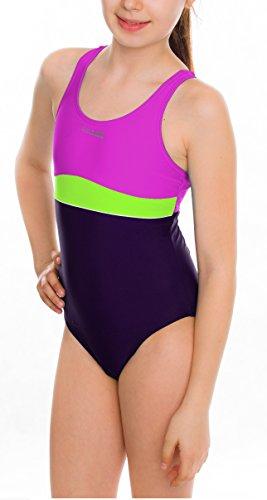 Aqua Speed Mädchen 5908217665119Emily Schwimmen Anzug, Violett/Grün/Dark Violet, Größe 140