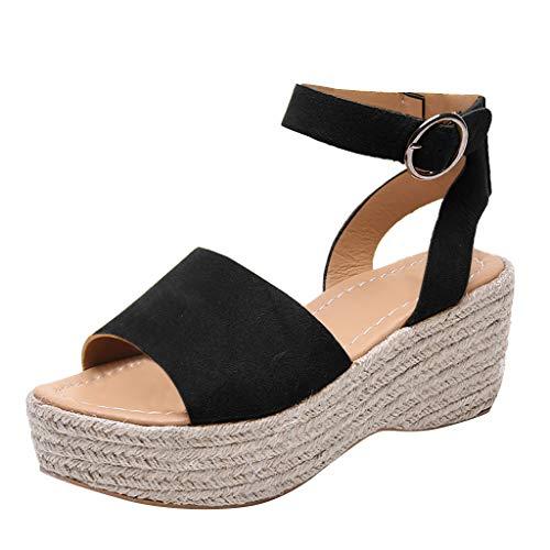 Peep Toe Lässig Slip (Frauen Sommer Sandalen Wedges Leopard Casual Schuhe Strap Gladiator Roman Sandalen Schnalle Keile Leopard Retro Peep Toe Sandalen)