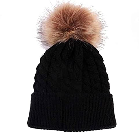 Newborn Baby Knitted Hats with Fur Pompom Ball, VENMO Kids Baby Unisex Cute Winter Warm Beanies Hats (Black)