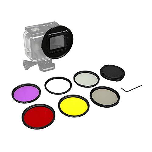 Ansemen 58 MM Kreisförmig Linse - UV/CPL/ND2/Rot/Gelb/Lila Filter mit Adapter Ring Kappe für GoPro Hero 7/Hero 6/Hero 5 Kamera Wasserdichtes Gehäuse