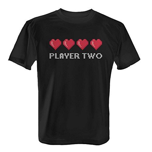 Fashionalarm Herren T-Shirt - 8 Bit Player Two | Fun Shirt als Geschenk Idee für Gamer & verliebte Paare zum Valentinstag Jahrestag Schwarz