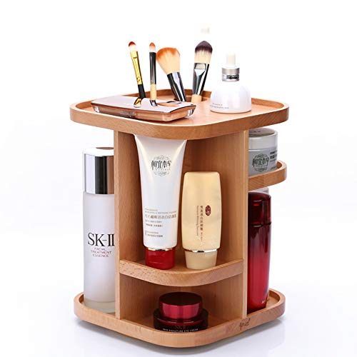 Rotierender Kosmetischer Organisator, Holz-Trennungs-Lippenstift-Hautpflege-Parfüm-Countertop-Anzeigen-Speicher-Gestell -