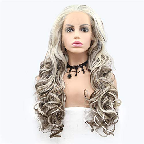 MXQH Wig Female, Front Lace Chemical Fiber Dyeable Hot Wig Female Long Hair Wig, Rolle Spielen Halloween Fashion Party Curly Hair Wig