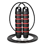 Sportout Speed Skipping Rope,Adjustable Jump Rope with Foam Handles and Tangle-Free,Weighted Skipping Rope