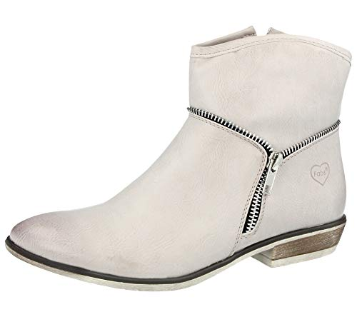Fabulous Fabs, Damen Stiefel & Stiefeletten, Weiß - Ice - Größe: 8 UK (Cowboy-stiefel Für Frauen Größe 8)