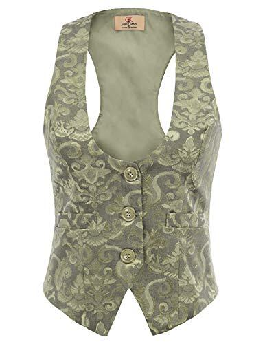 Femme Blazer Gilet Costume Vintage Jacquard sans Manche Veste Femme Bureau Ete Vert S CL677-5