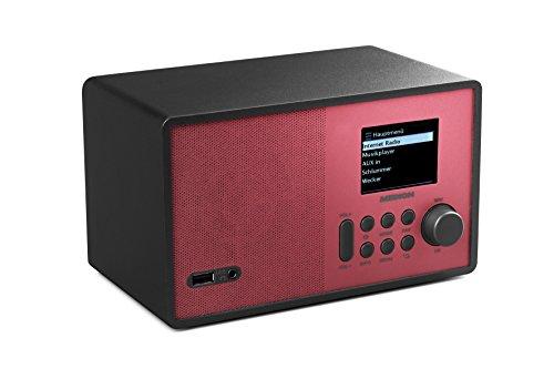 Medion E85059 MD 87559 WLAN-Internetradio (6 cm (2,4 zoll) TFT Farb-Display, 40 Speicherplätze, Holzgehäuse, USB, AUX) rot/schwarz