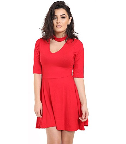 Janisramone - Robe - Robe de swing - Uni - Manches Courtes - Femme * taille unique red