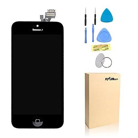 Flylinktech Vitre Tactile Sur Châssis Écran LCD Pour iPhone 5 + Bonton Home + Kit de Réparation Ecran pour iPhone 5+ Outils Noir