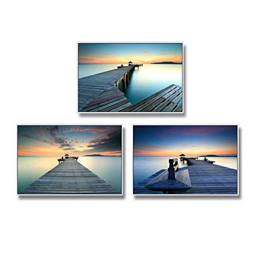Serie Color Inkjet (Fotowand 3er Pack Bilderrahmen Collage Bilderrahmen Wandgalerie Kit Massivholz for Wand und Zuhause Triptychon, (Größe: 60 * 40cm) (Seaside Path) (Color : A))