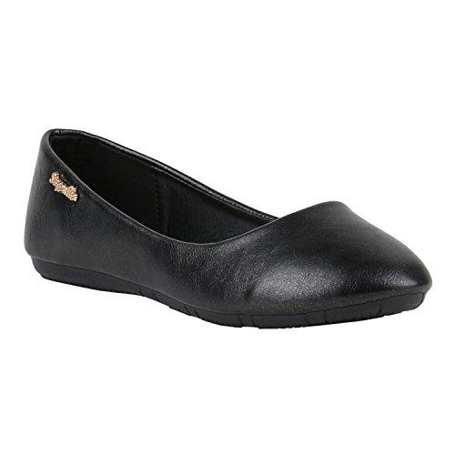 Klassische Damen Ballerinas Lederoptik Modische Schuhe Freizeit Schwarz Metallic