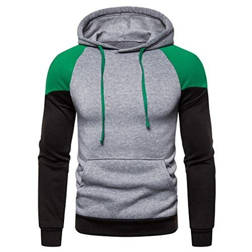 Herren Herbst Winter Langarm Kapuzen Sweatshirt Patchwork Outwear Tops Bluse Genähtes, Farbiges Langarm Pullover Oberteil Mit Kapuze
