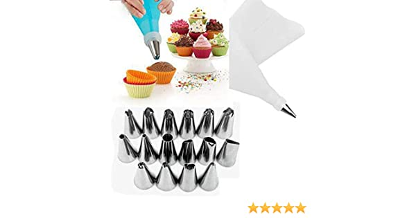 NIAGUOJI Silicone Piping Bags and Nozzle,Cake Decorating 14 Piece Set Cream Pastry Bag and 12 Pcs Piping Nozzle Set for Cake Decorating Cake DIY Decorating Tool