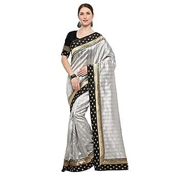 sarvagny clothing Silk Saree With Blouse Piece (555 grey_Grey_Free Size)