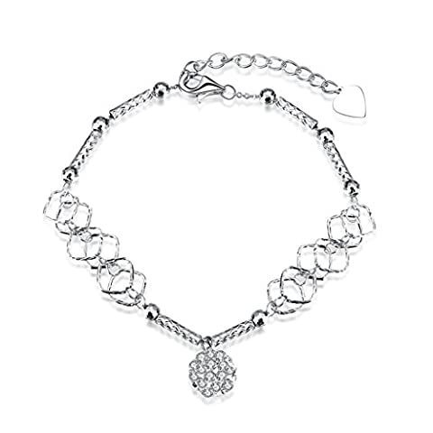 HMILYDYK Unique Womens Bracelet 925 Sterling Silver Retro Rhinestone Beaded Adjustable Hand Chain