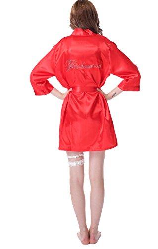 Juntian Damen-Kimono-Bademantel aus Satin mit Strasssteinen auf der Rückseite - Rot - XX-Large