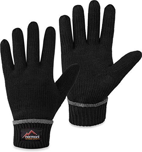 normani Wollhandschuhe Fingerhandschuhe mit ThinsulateTM Thermofutter und Fleece Innenmaterial - Strickhandschuhe für Damen und Herren [XS bis 4XL] Farbe Schwarz Größe M/L