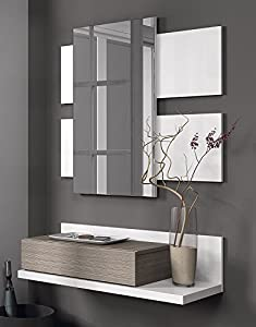 recibidores: Habitdesign - Mueble recibidor con cajón y espejo incluido color Blanco Brillo y...