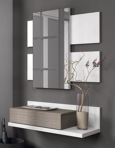 Habitdesign - Mueble recibidor con cajón y espejo incluido color Blanco Brillo y Fresno para colgar en pared de entrada, medida: 75cm de ancho x 116cm altura x 29cm fondo