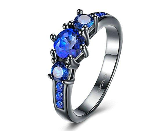 Epinki placcato oro donna anello runde cubic zirconia blu nozze anniversario anello impostato misura 17