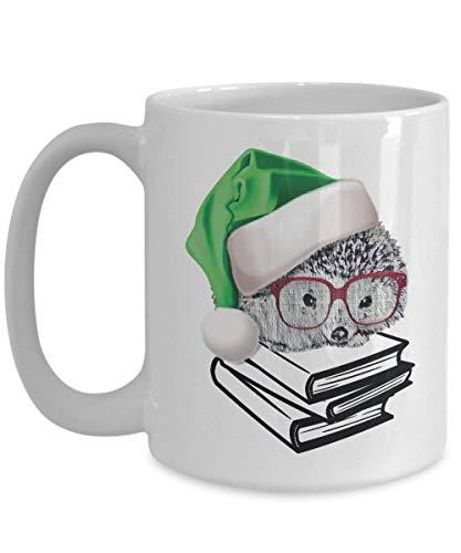Igel Becher Buch Nerd mit Brille Geschenk für Nerdy Geek, die Weihnachten Elf Elfie Kaffeetasse lesen liebt