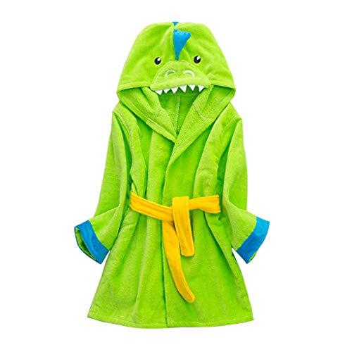 Niños Albornoz con Capucha Niños Niñas Pijama Ropa de Dormir para 3-5 Años, Verde