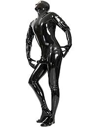 Ezshe Combinaison en latex pour homme avec gaine de pénis anatomique Noir
