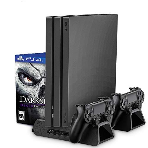 RegeMoudal PS4 / PS4 Slim vertikaler Ständer mit eingebautem Lüfter, Playstation Ladestation Standfuß mit Dual Controller Ladestation, Multifunktionaler vertikaler Kühlungs-Standplatz