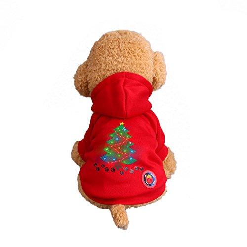 Kostüm Dunkle Klaue - Abcsea Haustier Kostüm, Haustier Kleidung, Hund Kleidung, Haustier Glühen Kleidung, Leuchten Im Dunkeln, Hund Halloween Halloween Glühen Kostüm, Weihnachtsbaum Hund Klaue Druckt Stil - Rot - L