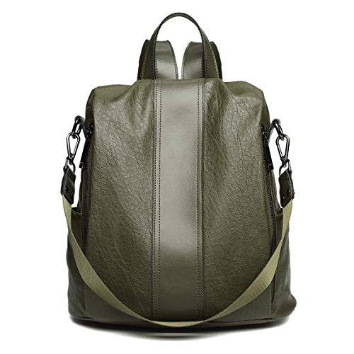 Eastery Handtasche Damen Rucksack Echte Kuh Leder Rucksack Für Damen Mädchen Einfacher Stil Casual Daypack Schule Rucksäcke Reisetasche, (Color : Grün, Size : 31 * 14 * 34cm)