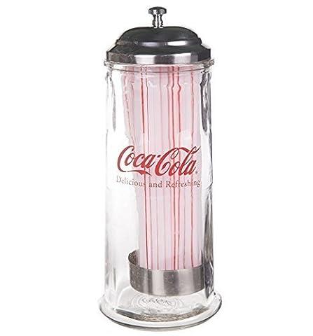 Officiel Coca Cola lourds distributeur paille en verre–